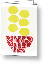 Bowl Of Lemons- Art By Linda Woods Greeting Card
