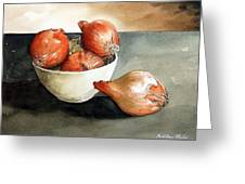 Bowl Of Onions Greeting Card