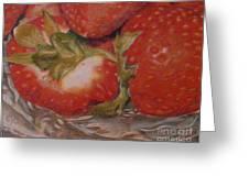Bowl Of Strawberries Greeting Card by Crispin  Delgado