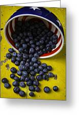 Bowl Pouring Out Blueberries Greeting Card