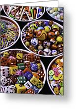 Bowls Full Of Marbles And Dice Greeting Card