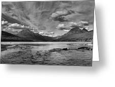 Bowman Lake Black And White Panoramic Greeting Card