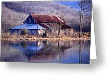 Boxely Barn Reflection Greeting Card