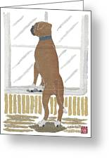 Boxer Dog Art Hand-torn Newspaper Collage Art Greeting Card