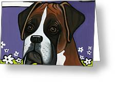 Boxer Greeting Card by Leanne Wilkes