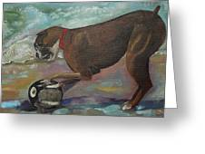 Boxer On Beach Greeting Card