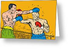 Boxer Punching Greeting Card