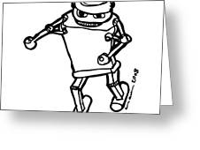 Boxing Robot Greeting Card by Karl Addison