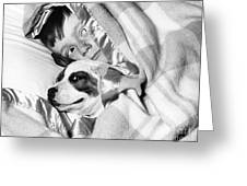 Boy And Dog Hiding Under Blanket Greeting Card