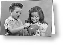 Boy And Girl Putting Money Into Piggy Greeting Card