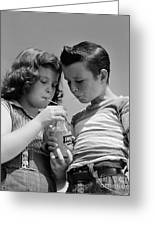 Boy And Girl Sharing A Soda, C.1950s Greeting Card