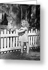 Boy And Girl Talking Over Fence, C.1940s Greeting Card