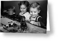Boy And Girl With Train Set, C.1950s Greeting Card