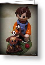 Boy And His Dog Greeting Card by Trina Prenzi