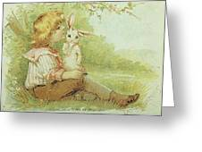 Boy And Rabbit Greeting Card