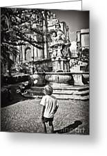 Boy At Statue In Sicily Greeting Card