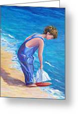 Boy At The Beach Greeting Card