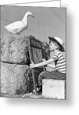 Boy Drawing Duck, C.1950s Greeting Card
