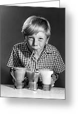 Boy Drinking Three Shakes At Once Greeting Card