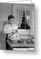 Boy Drying Dishes, C.1950s Greeting Card