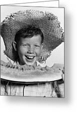 Boy Eating Watermelon, C.1940-50s Greeting Card