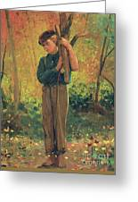 Boy Holding Logs Greeting Card by Winslow Homer