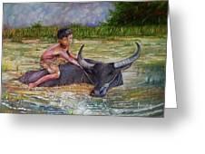 Boy In A Carabao Greeting Card