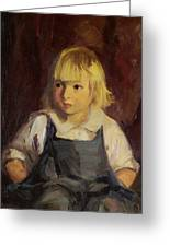Boy In Blue Overalls Greeting Card by Robert Henri