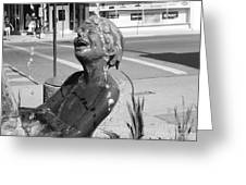 Boy In Fountain Sculture Grand Junction Co Greeting Card