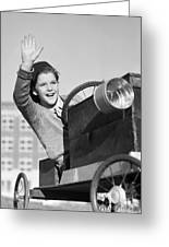 Boy In In Go-cart, C.1940-30s Greeting Card