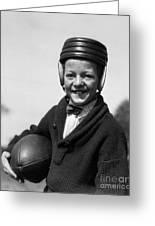 Boy In Old-fashioined Football Gear Greeting Card