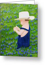 Boy In The Bluebonnets Greeting Card