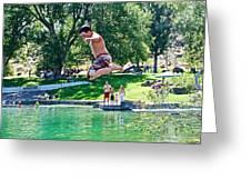 Boy Jumping Off The Board Into Dierkes Lake In Snake River Near Twin Falls-idaho   Greeting Card