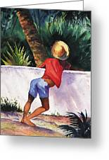Boy Leaning On Wall Greeting Card