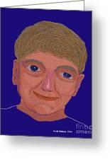 Boy On Blue Greeting Card