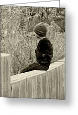Boy On Fence - Sepia Greeting Card