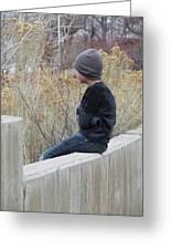 Boy On Fence Greeting Card