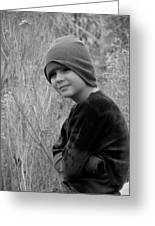 Boy On Fence Smiling - Bw Greeting Card