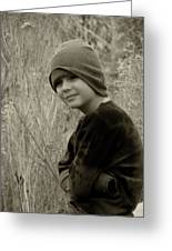 Boy On Fence Smiling - Sepia Greeting Card