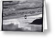 Boy On Shoreline Greeting Card