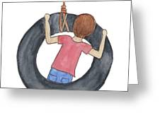 Boy On Swing 1 Greeting Card by Betsy Hackett