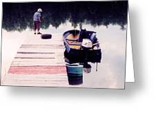 Boy On The Dock Ae 2  Greeting Card