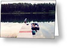 Boy On The Dock Ae Greeting Card
