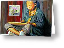 Boy Painting Lilies Greeting Card