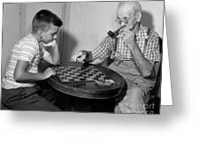 Boy Playing Checkers With Grandfather Greeting Card