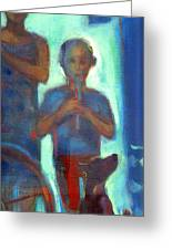 Boy Playing Flute Greeting Card