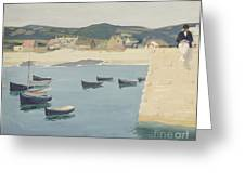 Boy Reading On A Harbour's Edge  Greeting Card by William Strang