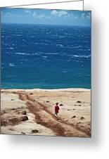 Boy Runs Toward Ocean Greeting Card