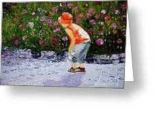 Boy Smeling Flowers Greeting Card