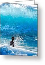 Boy And Wave   Kekaha Beach Greeting Card